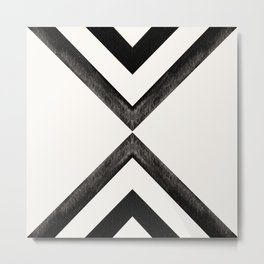 Converging Triangles Black and White Moroccan Tile Pattern Metal Print
