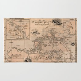 Map of the Northwest Passage 1856 Rug