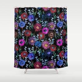 Gillian Floral Black Shower Curtain