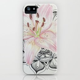 Pink lily with mandala iPhone Case
