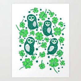 Shamrock Owls Art Print