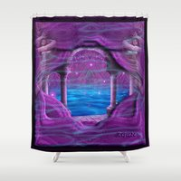hercules Shower Curtains featuring Atlantis by Giada Rossi