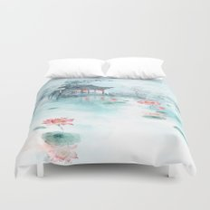 LOTUS IN THE POND PAINTING Duvet Cover