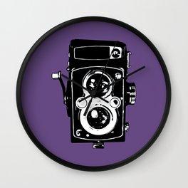 Big Vintage Camera Love - Black on Purple Background Wall Clock