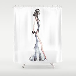 Lady - Watercolors and Ink Shower Curtain