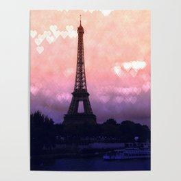 Paris Pastel Heart Bokeh Poster