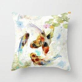 Watercolor Koi Pond Throw Pillow