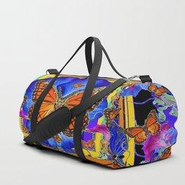 ABSTRACT ORANGE MONARCH BUTTERFLIES & BLUE FLORAL BLACK Duffle Bag