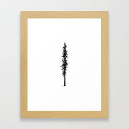 Love in the forest - a couple and their dog under a solitary, towering Douglas Fir tree Framed Art Print