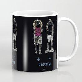 Battery (+/-) 1, on Black background. Coffee Mug