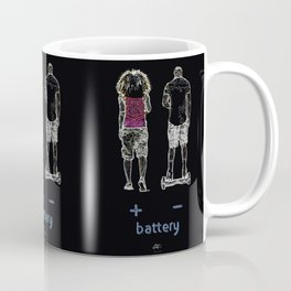 Battery (+/-) 1, on Black background. Coffee Mug