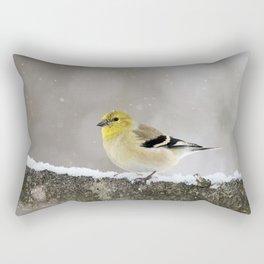 Winter Goldfinch Rectangular Pillow