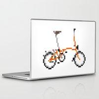 brompton Laptop & iPad Skins featuring Pixel Art Brompton bicycle - Orange by PixelArtM