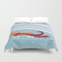 corgi Duvet Covers featuring Winter Corgi by Jackie Sullivan