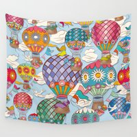 hot air balloon Wall Tapestries featuring Hot Air Balloon by Helene Michau