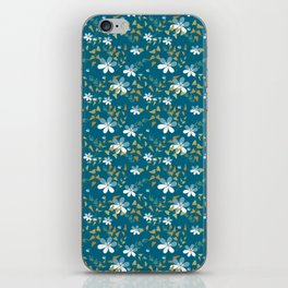 White flowers on a blue background . iPhone Skin