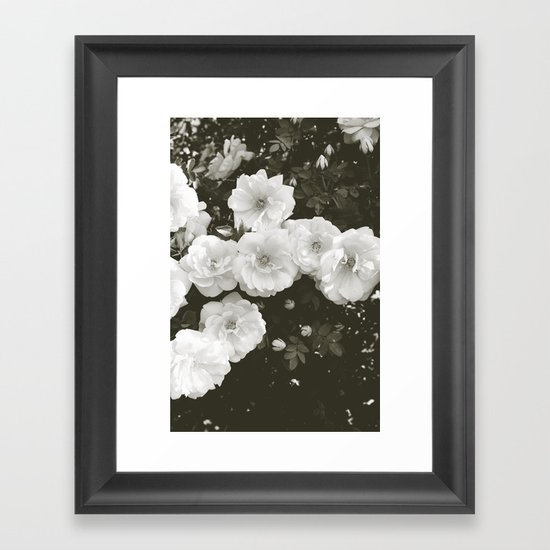 Floral in Black and White Framed Art Print