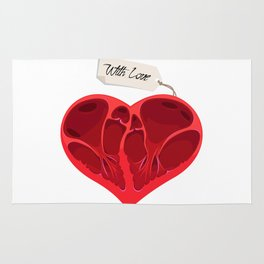 Valentines anatomy heart Rug
