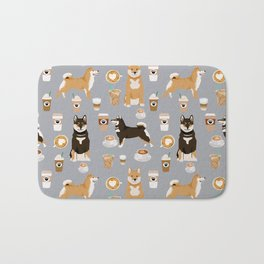 Shiba Inu coffee dog breed pet friendly pet portrait coffees pattern dogs Bath Mat
