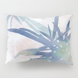 Navy Blue and Blush Pink Palm Leaf Watercolor Painting Pillow Sham