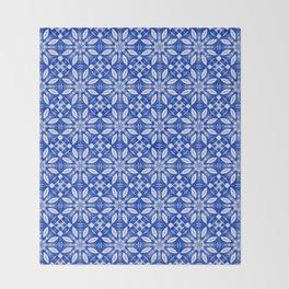 Sapphire Blue Floral Pattern Throw Blanket