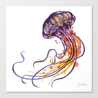 jellyfish Canvas Prints featuring Jellyfish by Sam Nagel