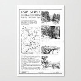 Road Design - Generals Highway, Three Rivers, Tulare County, CA Canvas Print