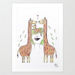 365 cabelos - giraffes Art Print
