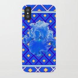 Blue Pattern Baby Blue Iris Art Yellow Checks iPhone Case
