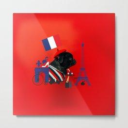 Proud Pug from Paris Metal Print