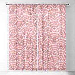 Japanese Seigaiha Wave Pattern – Coral Sheer Curtain