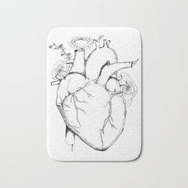 Black and White Anatomical Heart Bath Mat