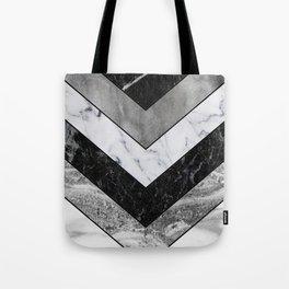 Shimmering mirage - grey marble chevron Tote Bag