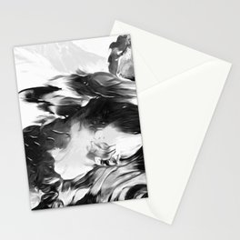 Raven: an abstract piece in hues of black and white by KKingCreations Stationery Cards