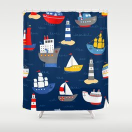Sailing Away Out To Sea Shower Curtain