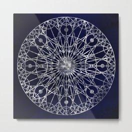 Rosette Window - Midnight Blue Metal Print