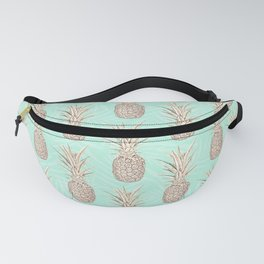 Golden and mint pineapples pattern Fanny Pack
