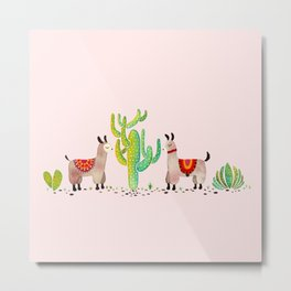 Cute alpacas with pink background Metal Print
