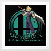 smash bros Art Prints featuring Cloud - Super Smash Bros. by Donkey Inferno
