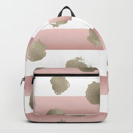 Golden dots on blush watercolor stripes Backpack