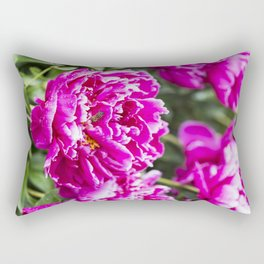 Bee on Wet Hot-Pink Peony Rectangular Pillow