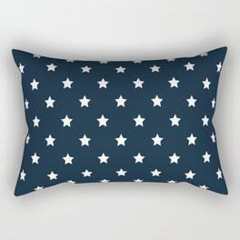 Dark Blue With White Stars Pattern Rectangular Pillow