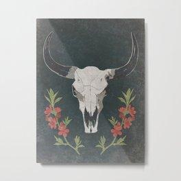 Floral Desert Cow Skull Metal Print