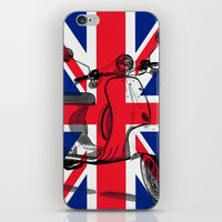 british flag iPhone & iPod Skins featuring British Flag Scooter by Hello Tokyo Go Go