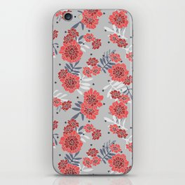 Crimson and Silver Floral iPhone Skin