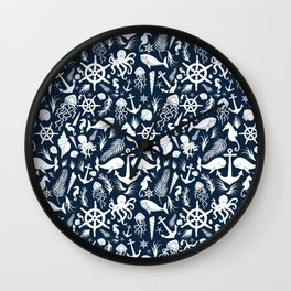 Nautical Silhouettes (White on Navy Blue) Wall Clock