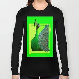 Decorative Chartreuse Green Peacock Art Design Long Sleeve T-shirt