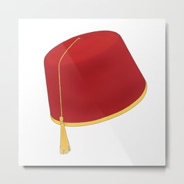 Tarboosh Hat Hand Drawn - طربوش Metal Print