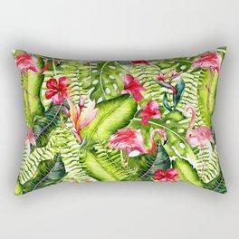 Aloha - Tropical Flamingo Bird and Hibiscus Palm Leaves Garden Rectangular Pillow