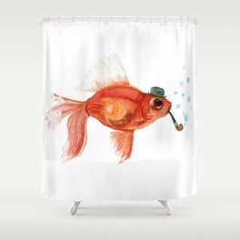 Goldfish with pipe and hat Shower Curtain